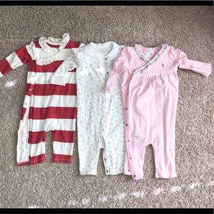Lot of 3 Ralph Lauren Rompers. Size 6 month